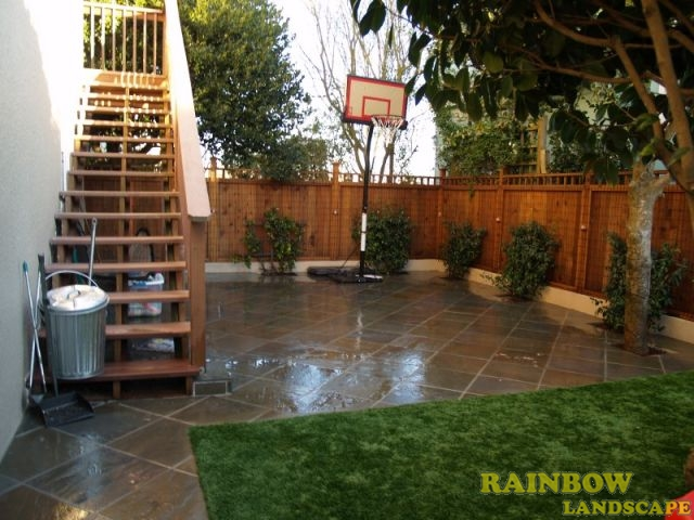 Bluestone Patio With Playground Artificial Grass In San